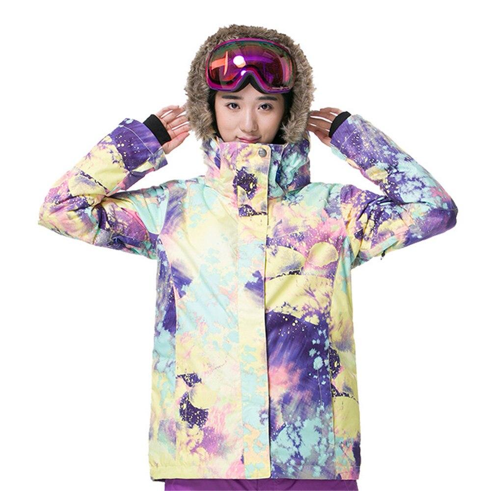 GSOU marca de nieve chaqueta de esquí traje de esquí de las mujeres impermeable Snowboard chaqueta de abrigo de invierno con capucha de piel caliente al aire libre de nieve esquí - 4
