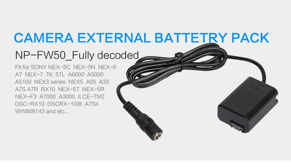 DC Camera External Dummy Battery Pack Power Adapter For Sony A7S//A7R//A7//NEX7