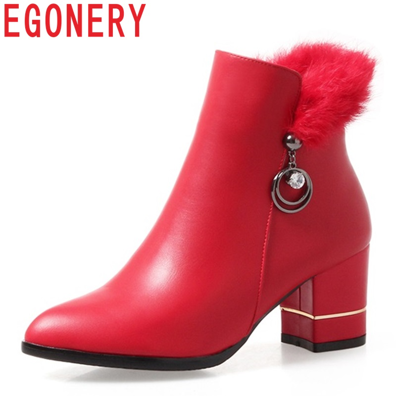EGONERY Plush ankle boots spring autumn winter woman high heels pointed toe 5cm heel fashion Work women shoes PU Chelsea booties basic 2018 women thick heel ankle boots black pu fleeces round toe work shoe red heel winter spring lady super high heel boots