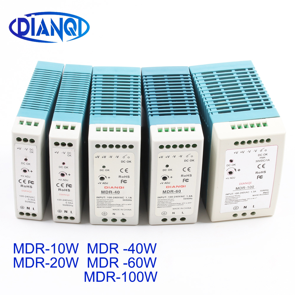 Din rail alimentation interrupteur MDR-10W 20 W 40 W 60 W 100 W 5 V 12 V 15 V 24 V 36 V 48 V sortie DIANQI commutation 5 V 12 V 15 V 24 V 36 V 48 V