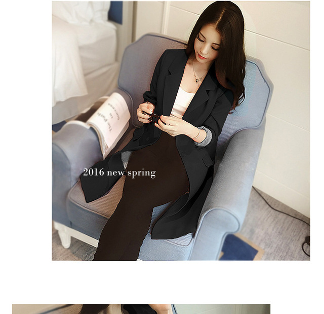 Single One Button Slim Women Long Blazer Jacket 4