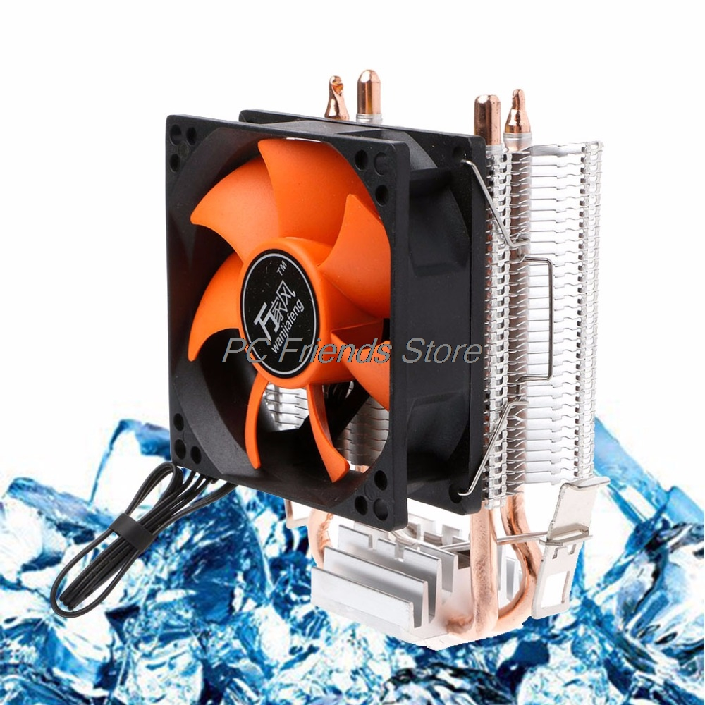 2 Heatpipe Aluminium PC CPU Cooler Cooling Fan For Intel 775/1155 AMD 754/AM2-PC Friend 4 heatpipe 130w red cpu cooler 3 pin fan heatsink for intel lga2011 amd am2 754 l059 new hot