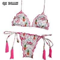QI DIAN New Flamingo And Pineapple Printed Brazilian Bikini 2018 Sexy Women Swimsuits Push Up Bikini
