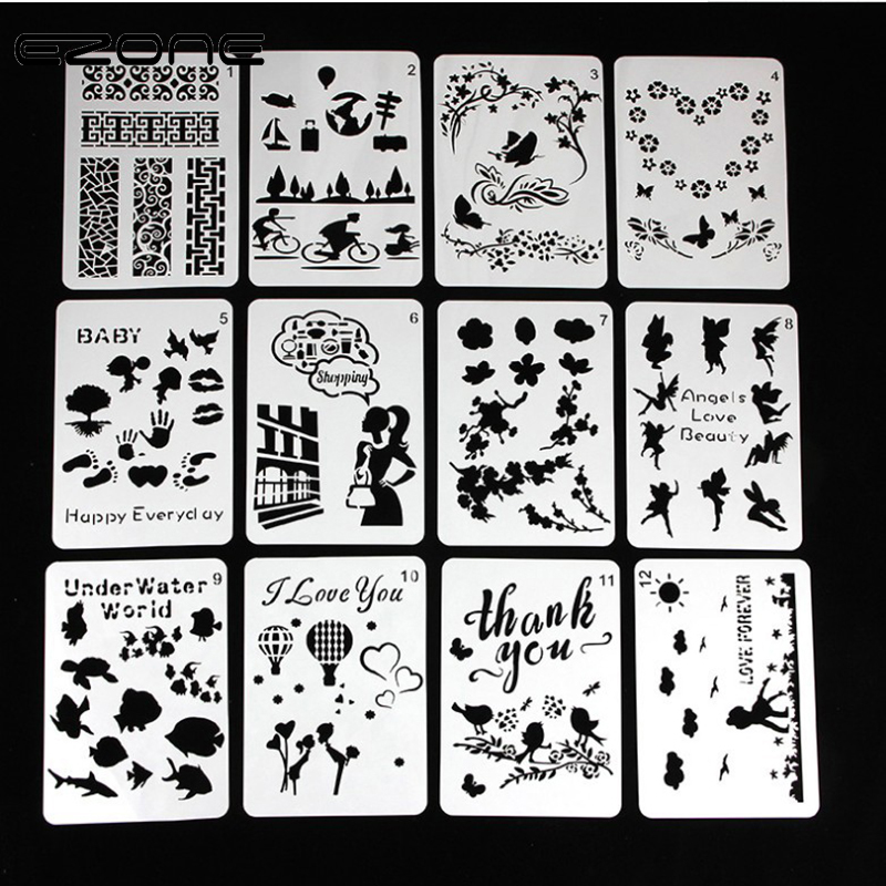 EZONE 1PC A5 Children Painting Template Plastic Hollow Stencil Board Children DIY Scrpbook Art Supply Animals Theme Stationery