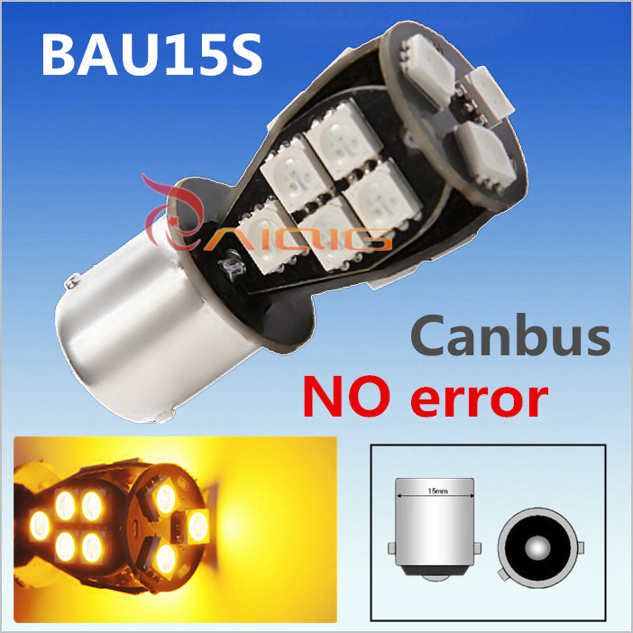 1156 BAU15S 18 SMD Amber Yellow CANBUS OBC Error Free py21w LED car Bulbs Lamp Turn Signal Lights Car Light Source 12V ruiandsion 2x75w 900lm 15smd xbd chips red error free 1156 ba15s p21w led backup revers light canbus 12 24vdc
