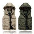 Бесплатная доставка плюс размер М-5XL Осень и зимний жилет хлопок марка военнослужащих пальто утолщение мужская одежда жилеты с капюшоном