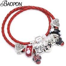 3ea826ec550f BAOPON pulseras de la amistad de Color rojo Mickey colgante encanto pulseras  con cuentas europeas se adapta a Pandora pulsera pa.