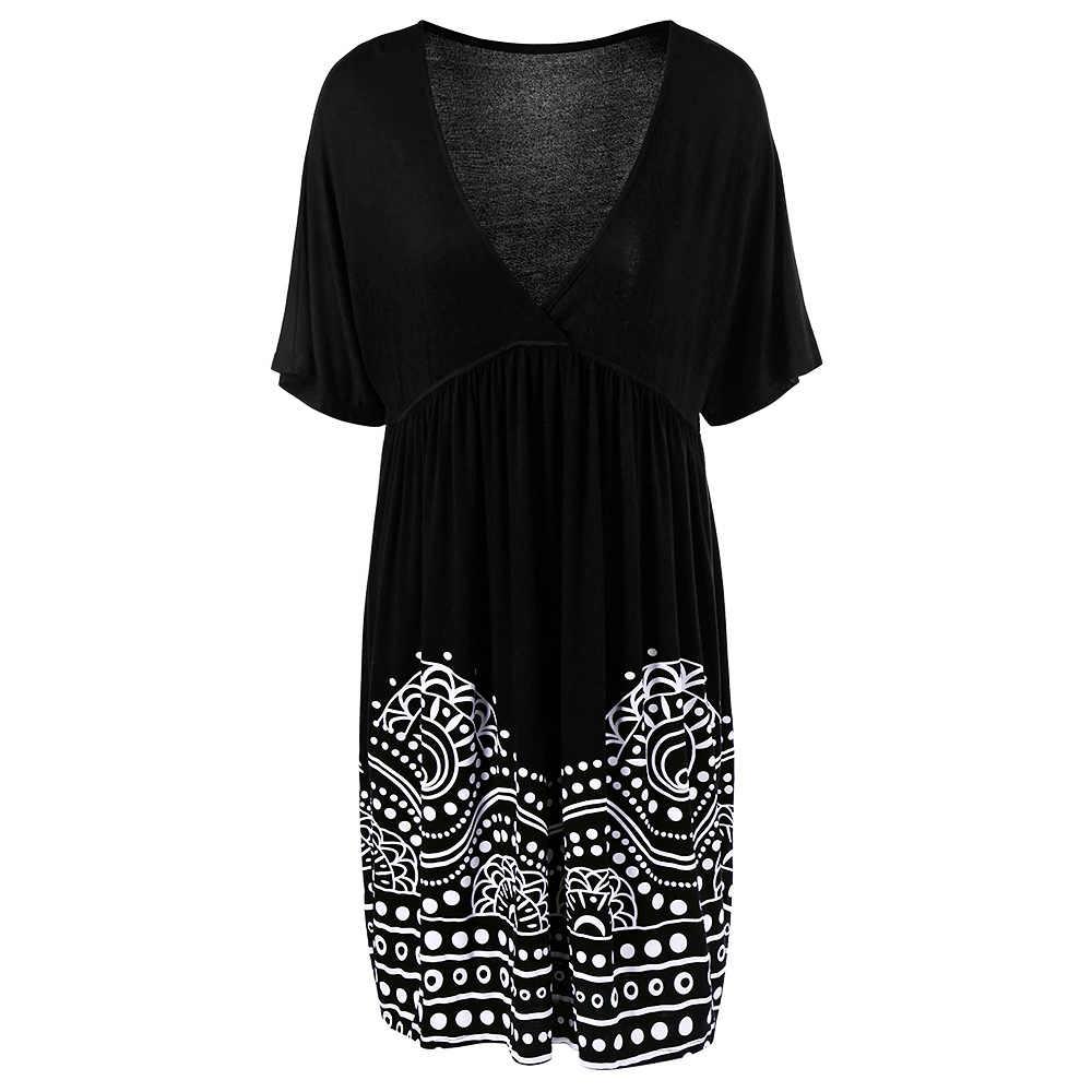 42290e495f9c9 Wipalo Plus Size 5XL Low Cut Empire Waist Plus Size A Line Dress Women  Summer Big Size V Neck Boho Beach Loose Midi Dress Black