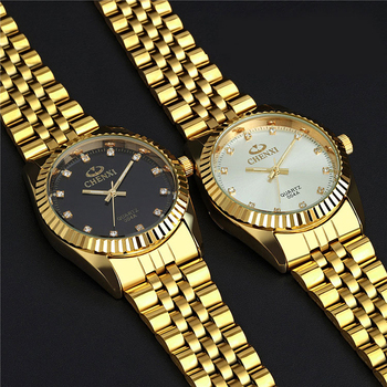 Golden New Clock gold Fashion Men watch full gold Stainless Steel Quartz watches Wrist Watch Wholesale CHENXI Gold watch men 1