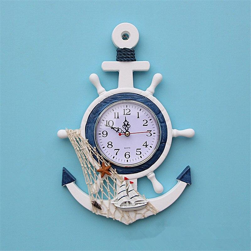 57a69f97647 Melhor Estilo mediterrâneo De Madeira Âncora Relógio De Parede de Quartzo  Retro Navio Barco Âncora Náutico Decor Artesanato de Decoração Para Casa  Pendurado ...