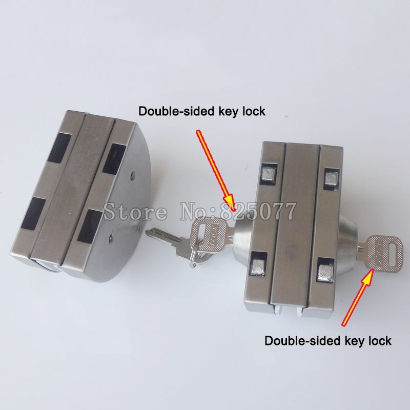 Serrure de porte en verre Double serrure en acier inoxydable serrure de porte de bureau double face serrure à clé KF1078