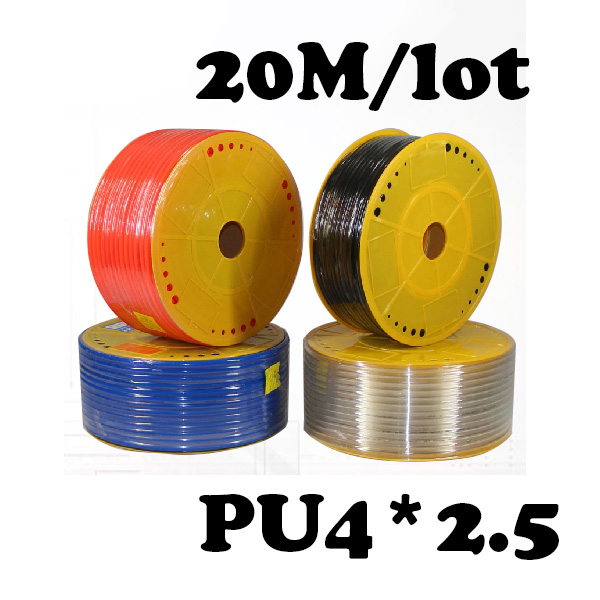 PU4*2.5 20M/lot Free shipping Pneumatic parts 4mm PU Pipe  for air pneumatic hose 4*2.5 Compressor hose air compressor 1 4pt 7 way air hose pipe inline manifold block splitter free shipping