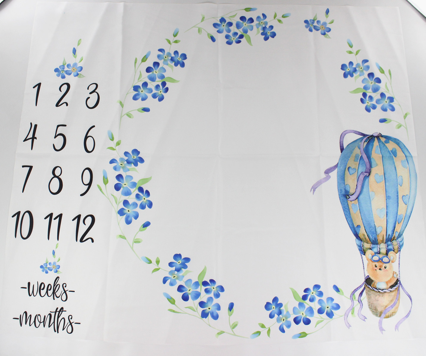 100x110cm Baby Milestone Blanket Floral Bubble Bear Photography Props Growth Monthly Number Backdrop Cloth Infant