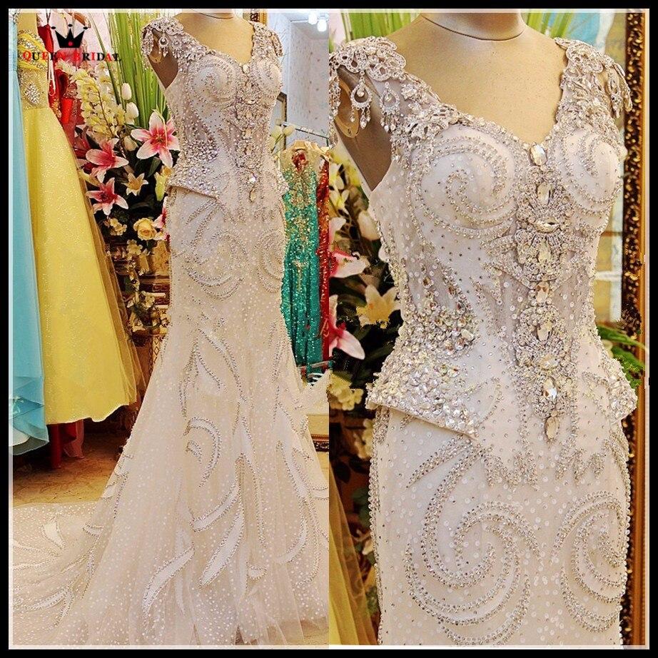 100% hecho personalizado foto Real lujo vestidos de novia sirena cuello v piedras de cristal cuentas Formal Sexy vestido nupcial RT12