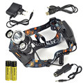 XML T6+2R2 Linternas 5000 Lumen 3 LED Head Light Lantern Headlamp Flashlight Head Lamp+ 2x18650 Battery+Ac/Usb/Car Charger