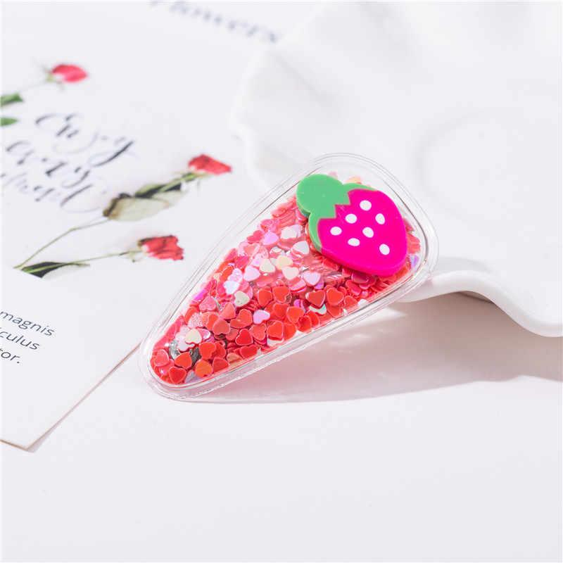New Girls Cute Colorful Sequin Fruit Transparent Hairpins Children Hair Clips Headbands Barrettes Headwear Kids Hair Accessories