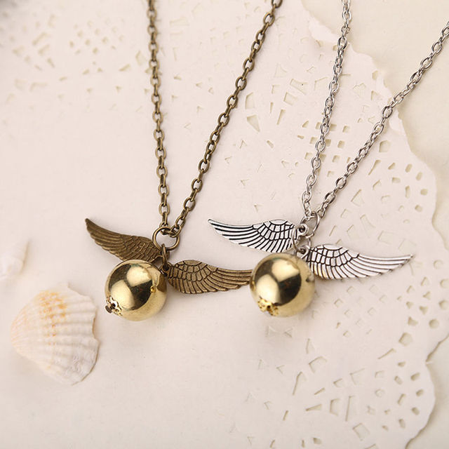 Popular Harry Potter Necklace Vintage Style Angel Wing Charm Golden Snitch Pendent Necklace For Men Necklace Tainless Chain
