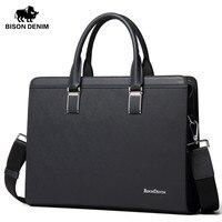 BISON DENIM Garantía Cuero Genuino Maletín Business Messenger Bag Para 14 ''Tableta Del Ordenador Portátil bolsos de cuero carteras de hombre N2317
