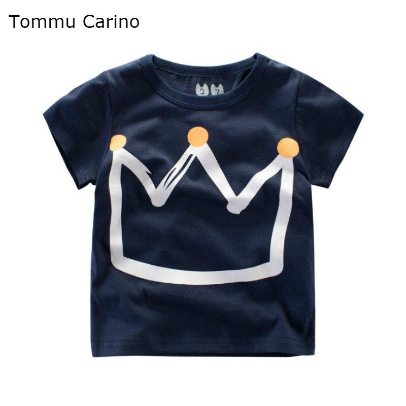 Новый мальчик футболка для малышей мультфильм корона печатных Половина рукава футболки корейских детей летние топы для девочек на возраст ...