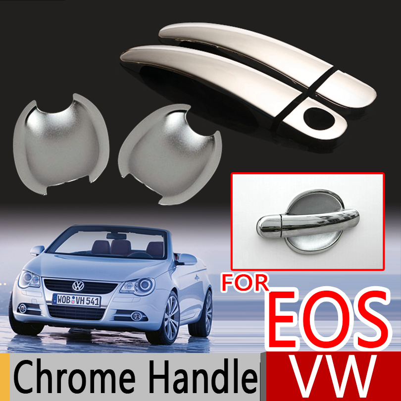 For VW EOS Chrome Door Handle Covers Trim Set of 2Pcs Volkswagen EOS 2006-2015 All <font><b>Model</b></font> <font><b>Car</b></font> Accessories <font><b>Car</b></font> Styling 2008 2010 image