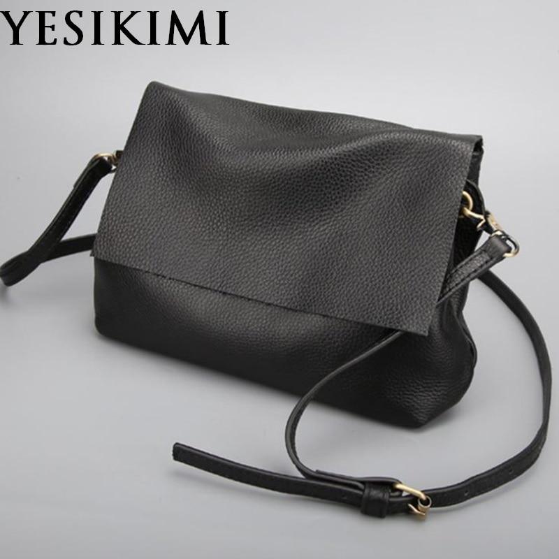 4a856237da YESIKIMI Women Messenger Bag Genuine Leather Small Black Shoulder Bag  Simple Casual Purse