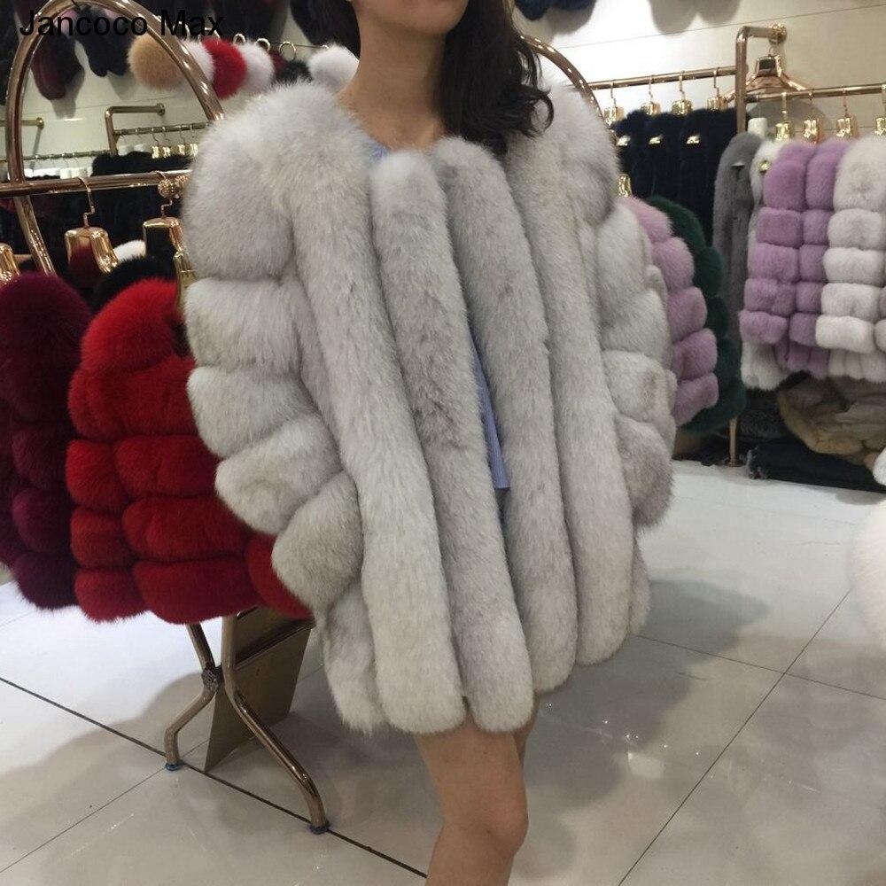 Jancoco Max 2018 delle Donne di Inverno Caldo di Spessore Reale della Pelliccia di Fox Cappotti Lunghi Della Tuta Sportiva Superiore di Modo di Qualità Giacca Casual Cappotto s7158