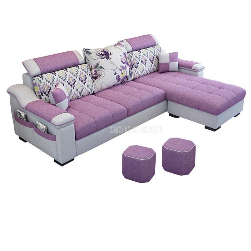 3 Seat Linen  Living Room Sofa Set Home Furniture Modern Design  Frame Soft Sponge L Shape Home Furniture