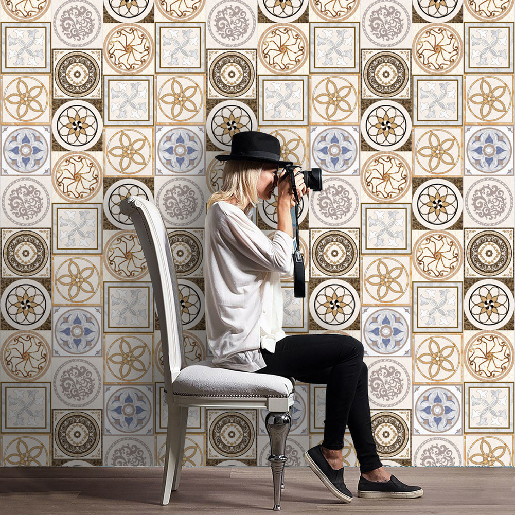 European style imitation ceramic tile floor wall sticker living european style imitation ceramic tile floor wall sticker living room kitchen bathroom imitate tile floorboards wall stickers in wall stickers from home dailygadgetfo Gallery