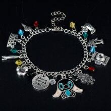 Wholesale Fashion Lilo and Stitch Theme OHANA Multi Charms Bangle Bracelet Ohana Means Family Christmas Halloween Cosplay Gifts