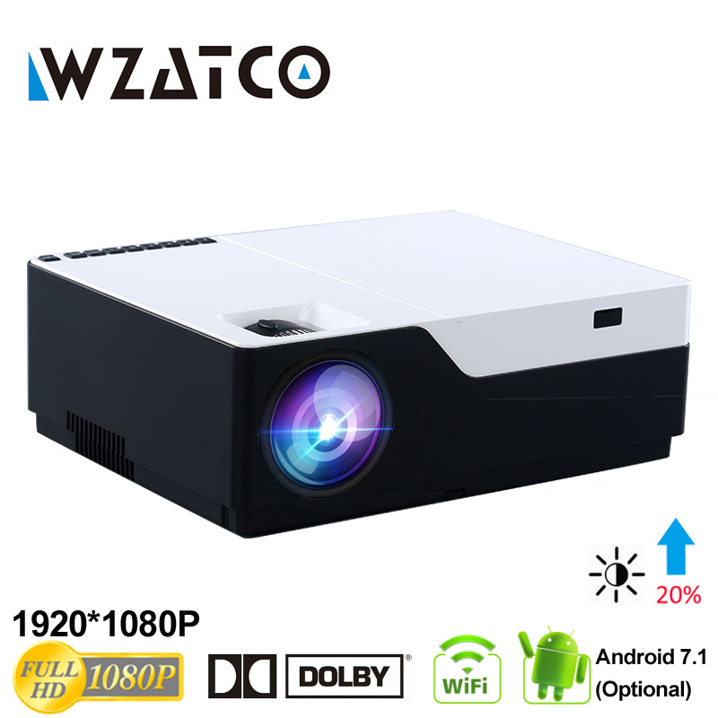WZATCO 1080P FULL HD LED font b video b font Projector 5500Lu Android 7 1 WIFI
