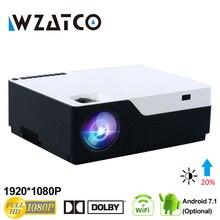 WZATCO 1080 P FULL HD светодиодный видеопроектор 5500Lu Android 7,1 Wi Fi поддержка AC3 Proyector для игры фильм кинотеатр домашний кинотеатр