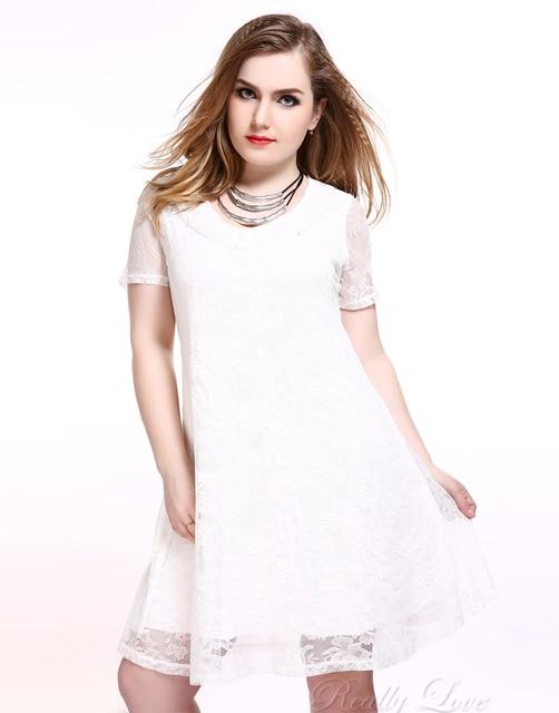 Cute Ann Womens Sexy Plus Size Lace Dress Short Sleeve White Summer