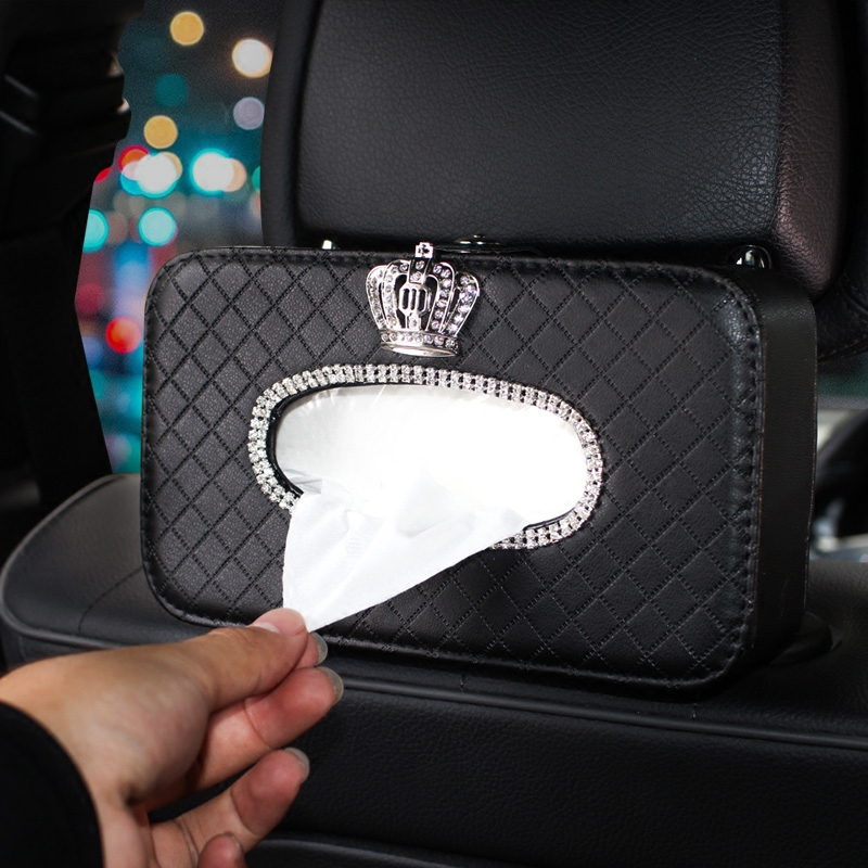 Crown Crystal Car Tissue Box Holder Seat Back Headrest Hanging Tissue Paper Case Diamond Car Styling Decoration Auto Accessories