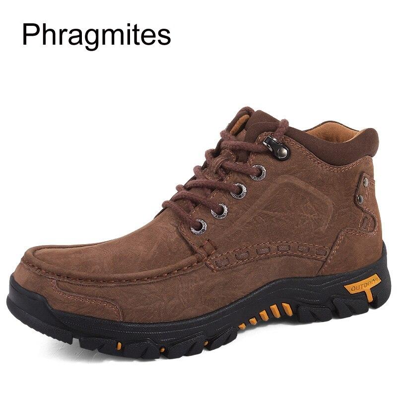Phragmites marka wysokiej jakości mężczyźni buty na zewnątrz antypoślizgowe piesze wycieczki buty zimowe ciepły śnieg męskie buty skórzane zimowe buty robocze w Obuwie robocze i ochronne od Buty na  Grupa 3