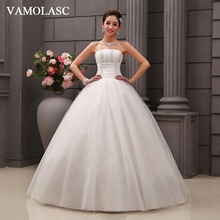 VAMOLASC Sequined Strapless Ball Gown Lace Wedding Dresses Off The Shoulder Pleat Tulle Backless Bridal Gowns