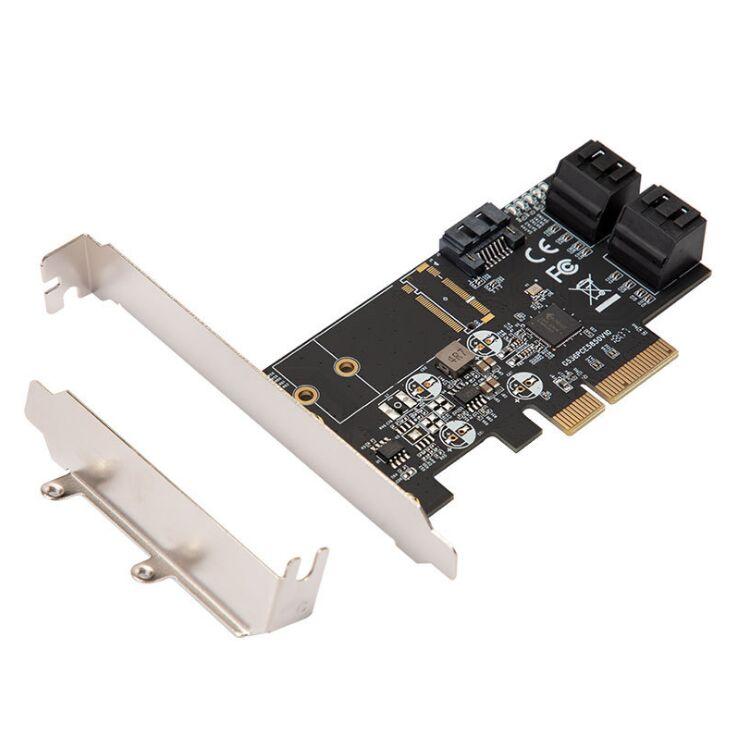Carte contrôleur pci-e PCI Express SATA III 6g 5 ports adaptateur carte d'extension PCIe 3.0x4 avec support bas