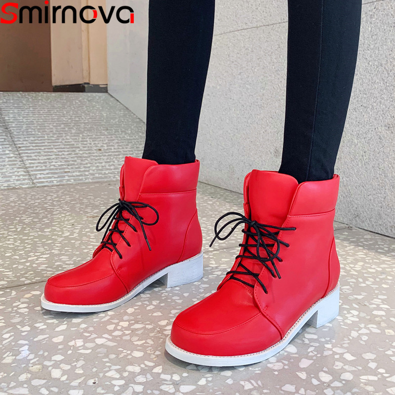 Smirnova 2020 new ankle boots for women round toe lace up autumn winter boots low heels ladies shoes women boots large size