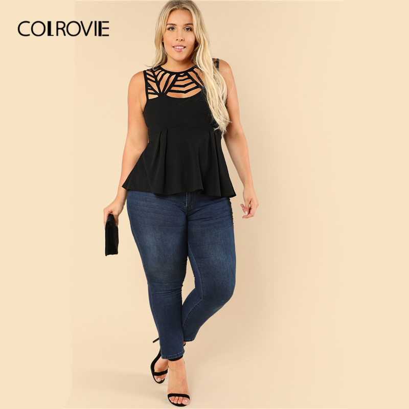 54f0adc9 Aliexpress.com : Buy COLROVIE Plus Size Black Cut Out Ruffle Textured Sexy Peplum  Top Blouse Women 2019 Summer Sleeveless Shirt Casual Ladies Blouses from ...