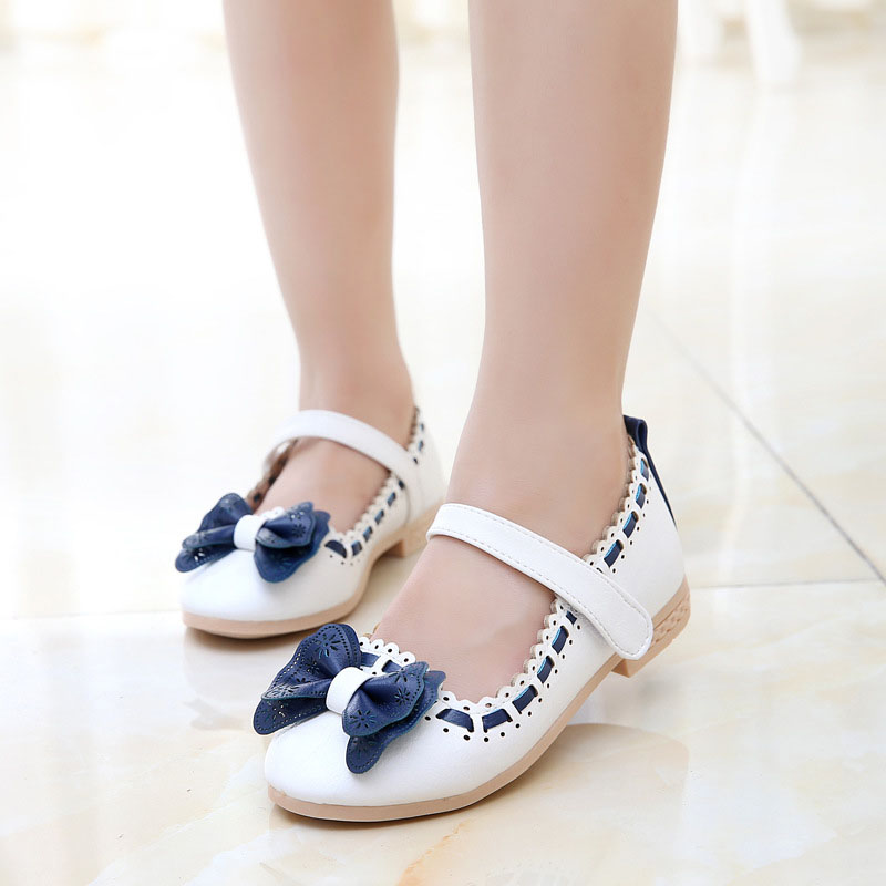 2018 New Princess Child Girl shoes Sweet Bow PU Leather Child Spring Summer shoes Childrens wear Infants Flat shoes