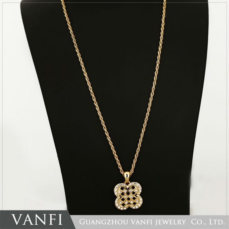 Kfvanfi zinc alloy jewelry set earrings necklace pendant clover shaped rhinestones gold silver color jewellery gifts for women
