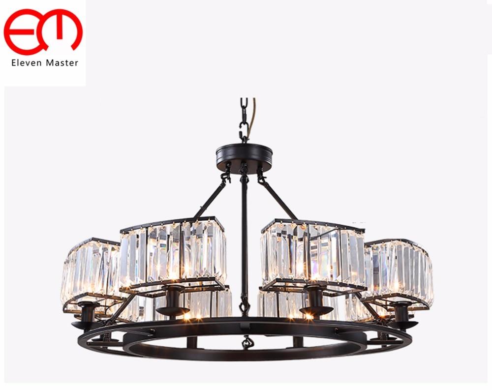 Vintage Glass Crystal Chandelier Light Fixture Black Cottage American Suspension Lamp Hanging Light kitchen Lighting ceiling