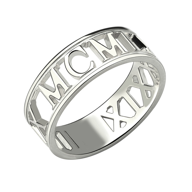 roman numeral ring personalized wedding date ring custom anniversary ring 925 silver birth date ring - Personalized Wedding Rings