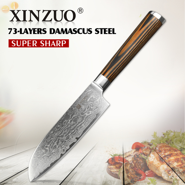 XINZUO 5Japanese Chef Knife 73 Layer VG10 Damascus Kitchen High Quality Utility Santoku