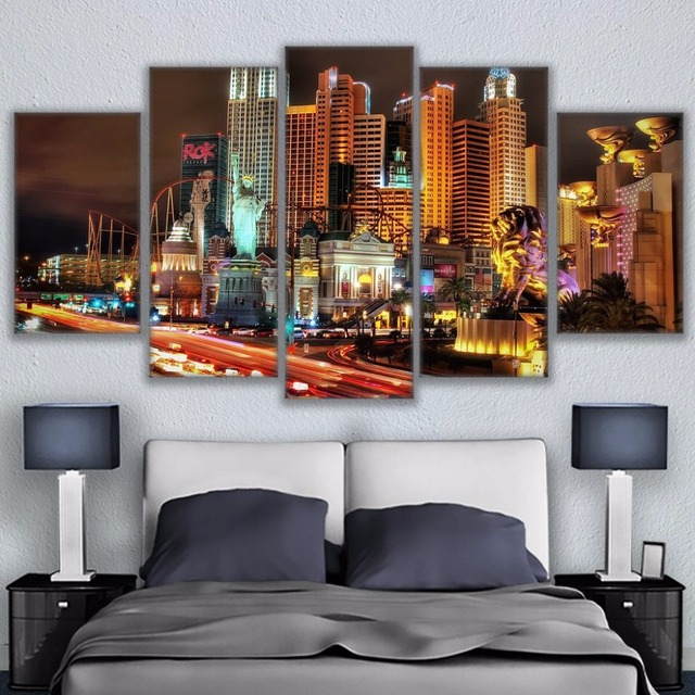 Wall art pictures home decor living room hd prints posters frame 5 pieces las vegas city