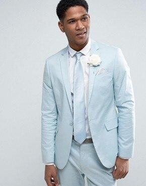 Pantalones azul boda Trajes para hombres slim fit novio esmoquin baile  matrimonio personalizado suave chaqueta 2 unidades RG 5e38e99db68