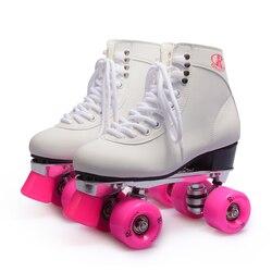Reniaever retro clássico das mulheres 4 rodas quad patins patinação sapato rodas rosa, sapatos brancos placa de alumínio, frete grátis