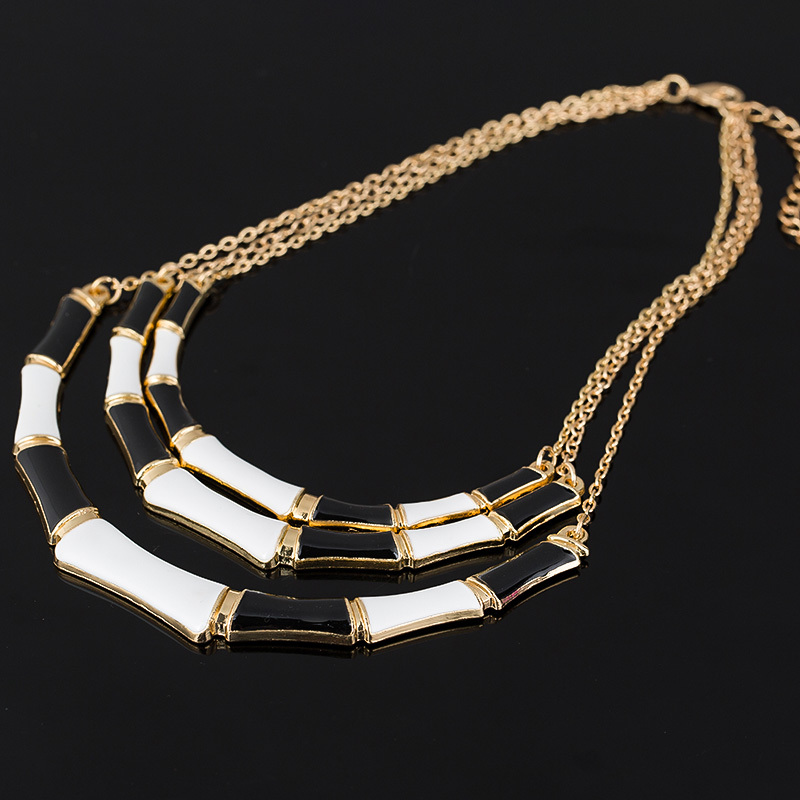 Forró népszerű egyedi tervezésű fekete zománc elegáns arany színű lánc ötvözet gallér nyaklánc női divathoz Bijoux # N078