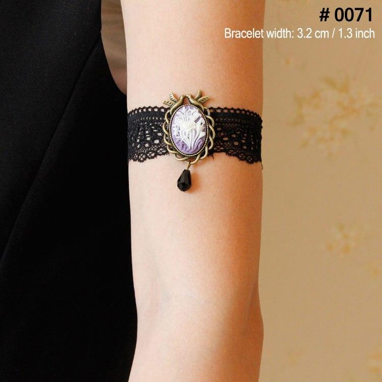 Lady élastique Bracelet Goth Victorien Queen Head Cameo Dentelle Noir Armband Brassard