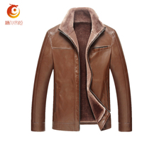 2017 Autumn Winter Thick Garment Business Casual Flocking PU Men SHigh Quality Leather Jacket Fashion Comfortable