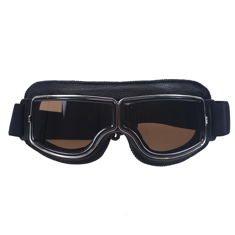 Black Leather Frame Clear Lens Vintage Motocross Goggles Pilot Cruiser Goggles Glasses Cafe Racer Skiing Eyewear Snowboarding
